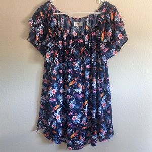 Terra & Sky 2X (20-22) floral and bird pattern top